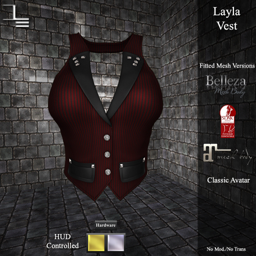 DE Designs - Layla Vest - Red Pinstripe