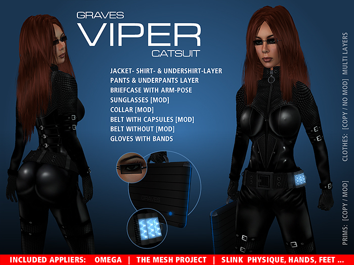 GRAVES leather latex viper black